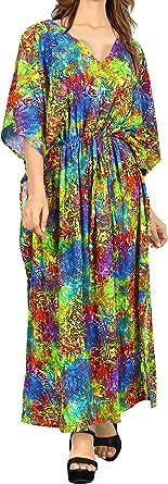 LA LEELA Mujeres caftán túnica 3D HD Impreso Kimono Libre tamaño Largo Abaya Vestido Jalabiyas de Fiesta para Loungewear Ropa de Dormir Playa Todos los días Cubrir Vestidos N