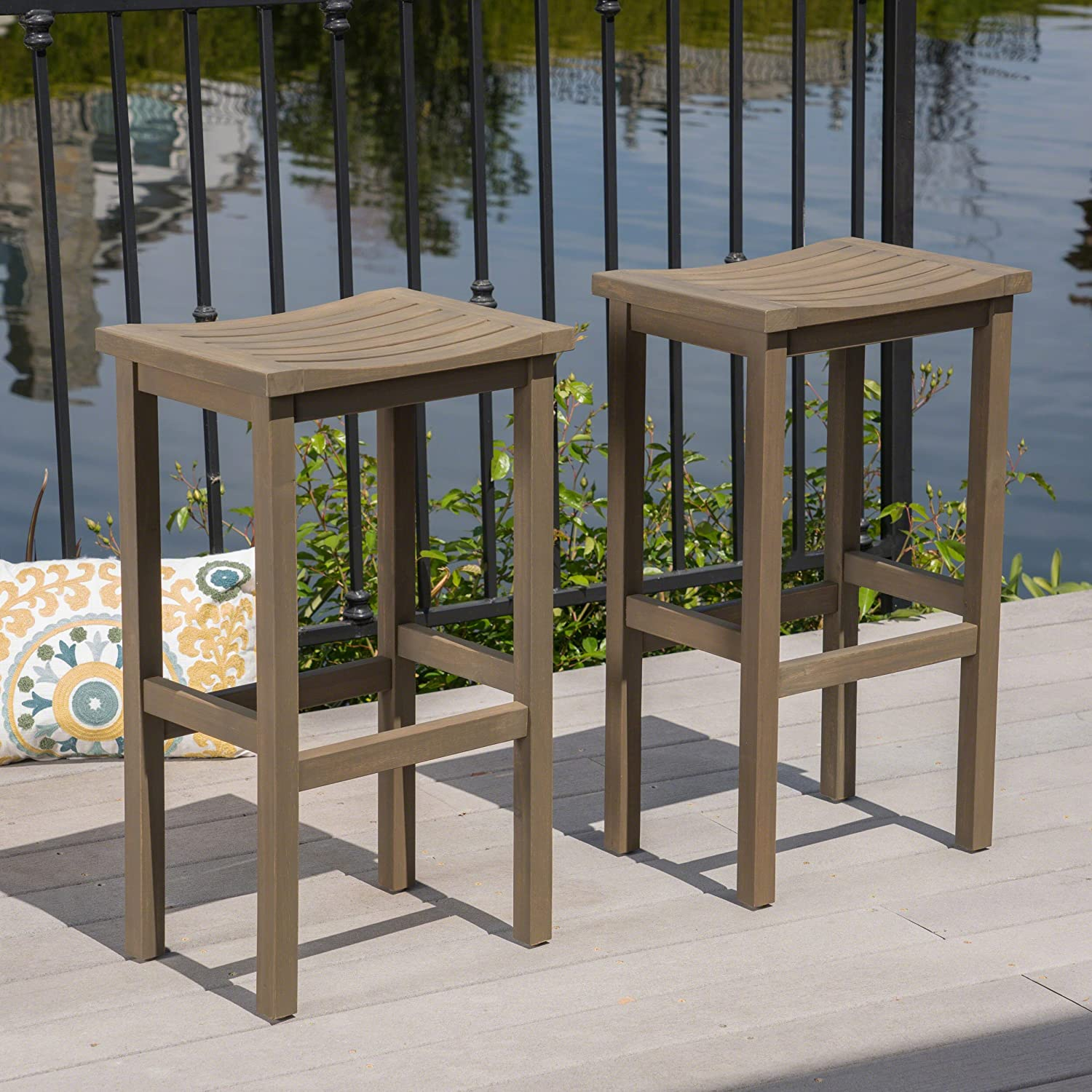 Christopher Knight Home 304143 Caribbean Outdoor 30 Acacia Wood Barstools Set of 2 , Grey