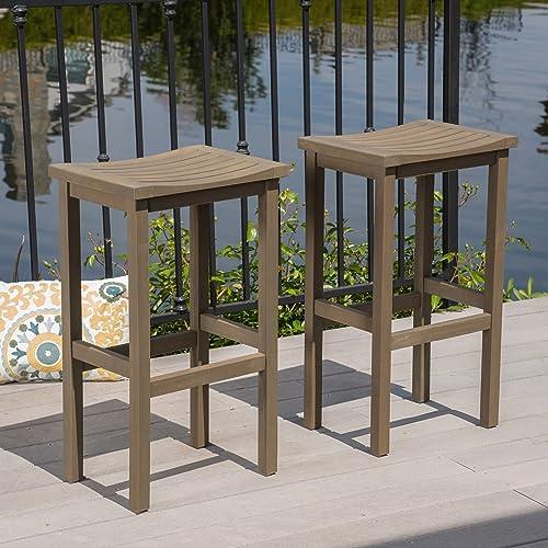 Christopher Knight Home Caribbean Outdoor 30 Acacia Wood Barstools, 2-Pcs Set, Grey Finish