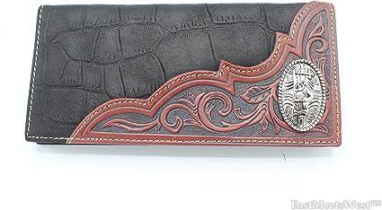 Black Montana West® Tooled Leather Western Billfold Wallet