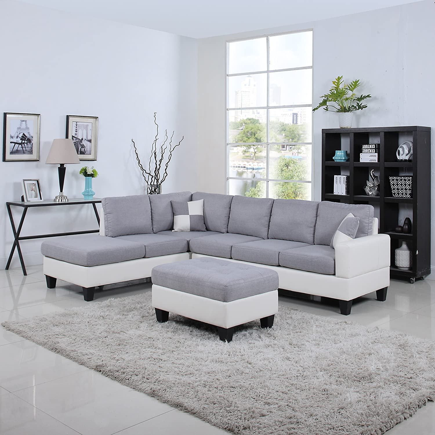 Amazon Com Classic Two Tone Large Linen Fabric And Bonded Leather Living Room Sectional Sofa White Light Grey Kitchen Dining