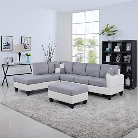 DIVANO ROMA FURNITURE Classic Two Tone Large Linen Fabric and Bonded Leather Living Room Sectional Sofa (White/Light Grey)