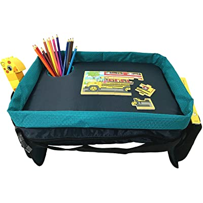 Car Seat Tray & Lap Desk for Kids & Toddlers - Reinforced Entertainment Surface & Best Cup Holder - Snack and Play Travel Tray - in Teal and Fuchsia by Dynamic Kidz: Automotive