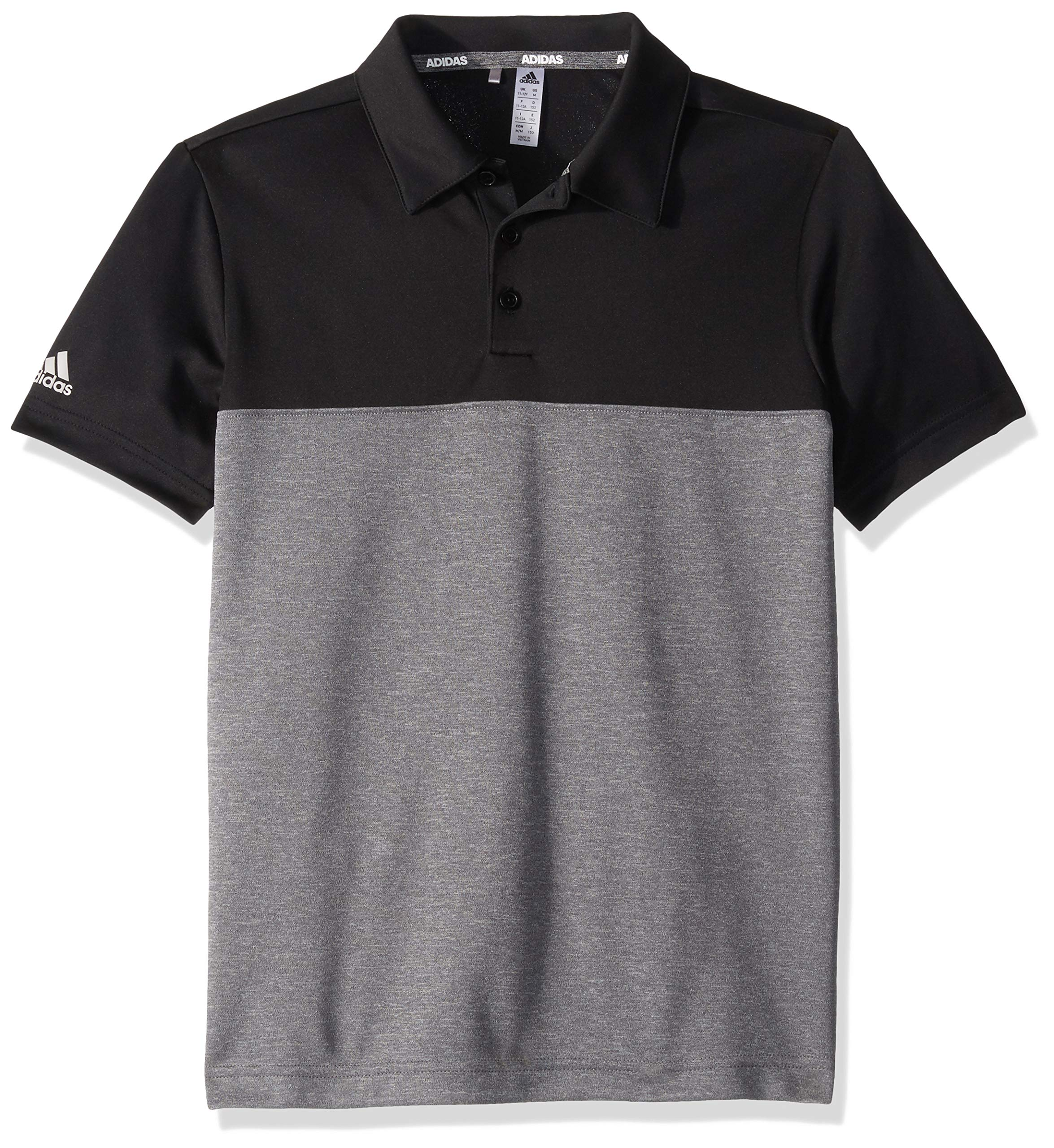 adidas Golf Heathered Color Blocked Polo, Black/Grey Five Heather, Large by adidas