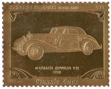 Stampbank Islas Bernera Escocia : Classic Cars - Maybach Zeppelin V12 1938 / Pan de oro