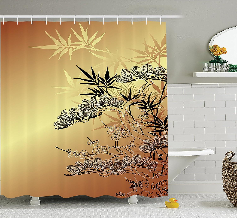 Amazon.com: Japanese Decor Shower Curtain Set by Ambesonne, Asian ...