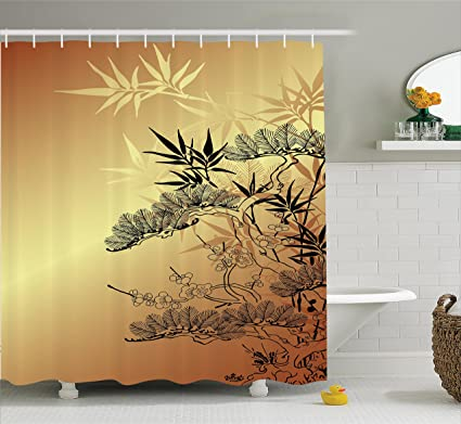 Ambesonne Japanese Decor Shower Curtain Set Asian Style Branches And Bamboo Motifs With Showy Fragrant