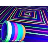 GreyParrot Tape UV Blacklight Reactive, (6 Pack), (6 Colors), 33ft Per Roll, Fluorescent Cloth Tape