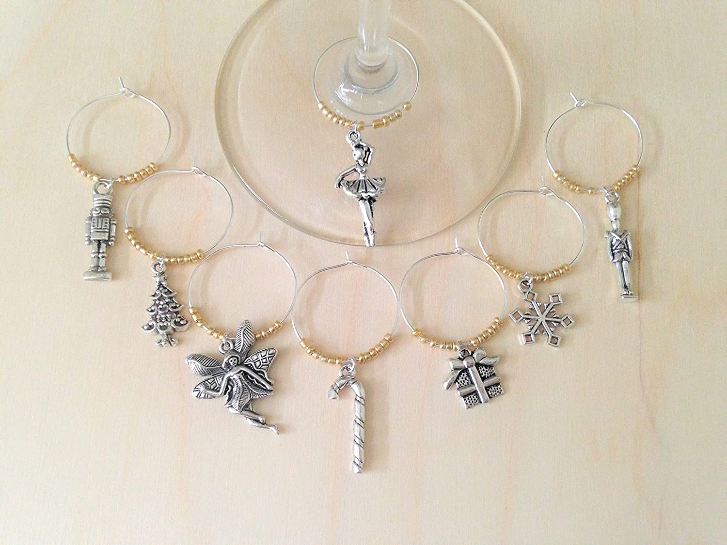 Nutcracker Ballet Wine Charms, Christmas Gift, Nut cracker Ballet Gift. Toy Soldier, Sugar Plum Fair, Ballerina. winecharm Set of 4 to Set of 8.