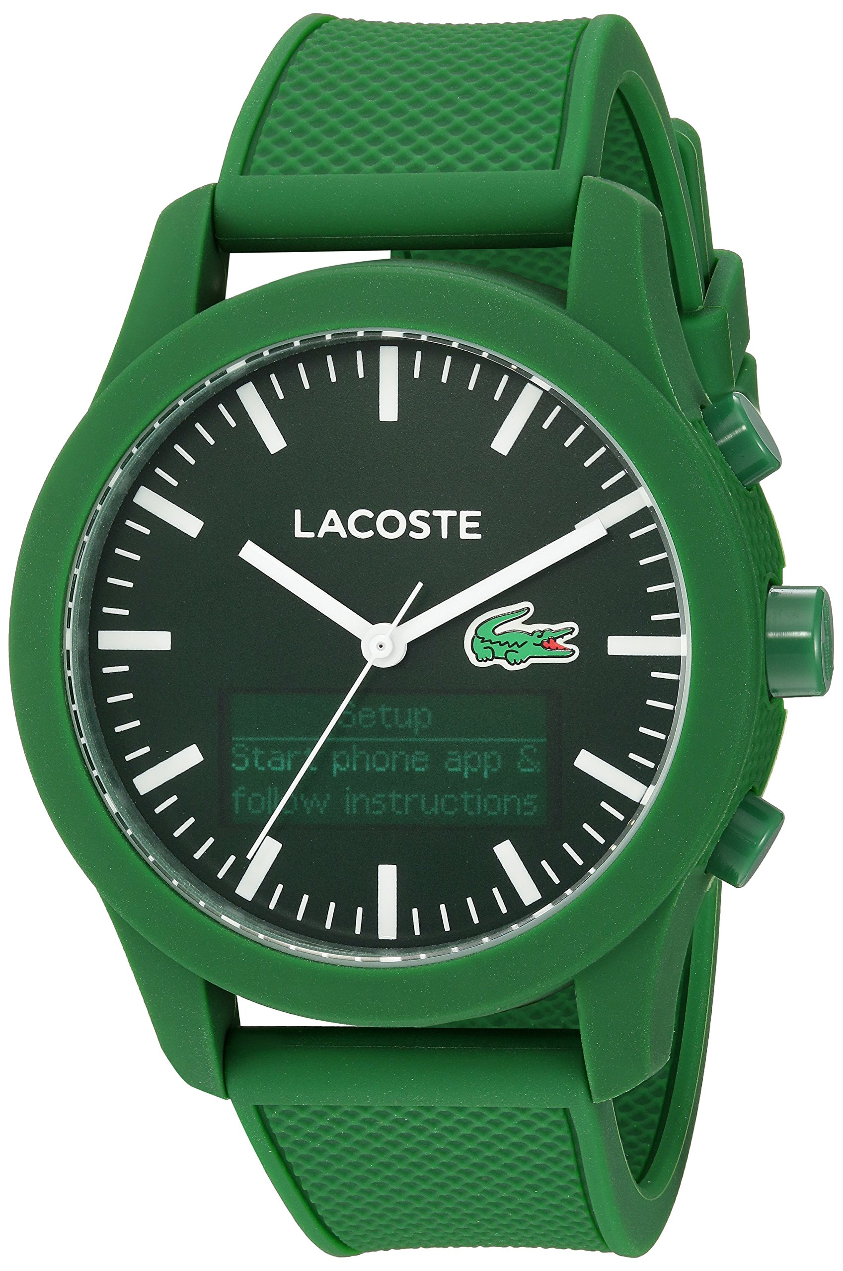 Lacoste Men's '12.12-TECH' Quartz Plastic and Rubber Smart Watch, Color:Green (Model: 2010883) by Lacoste
