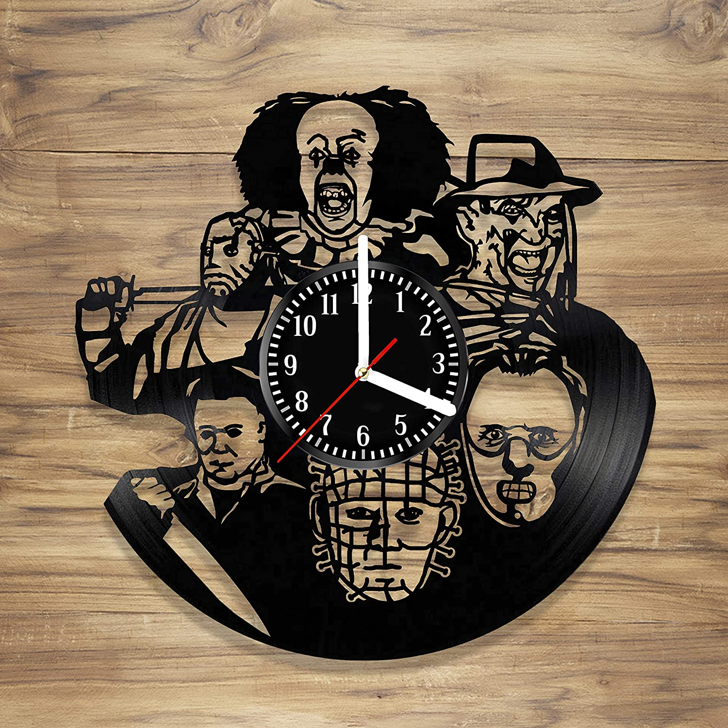 Halloween Vinyl Wall Clock Best Horror Freddy Krueger It Pennywise Jason Voorhees Michael Myers Decorate Home idea for Him Her (12 inches)