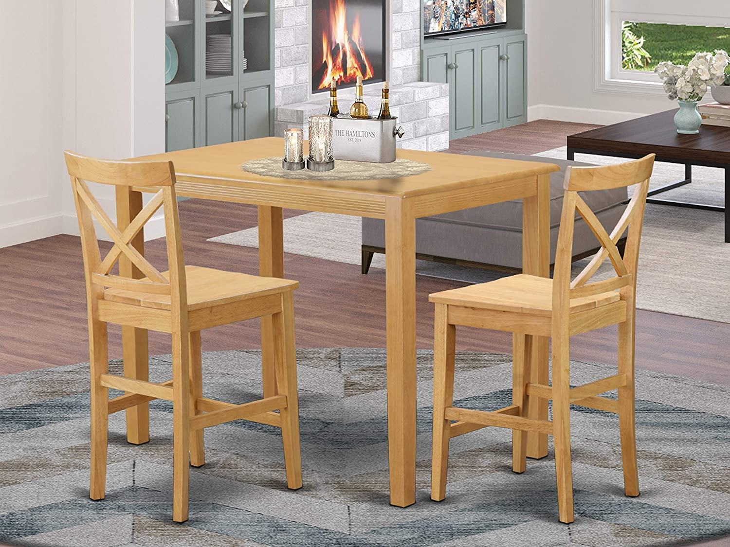 Amazon Com 3 Pc Counter Height Set High Top Table And 2 Dining Chairs Furniture Decor
