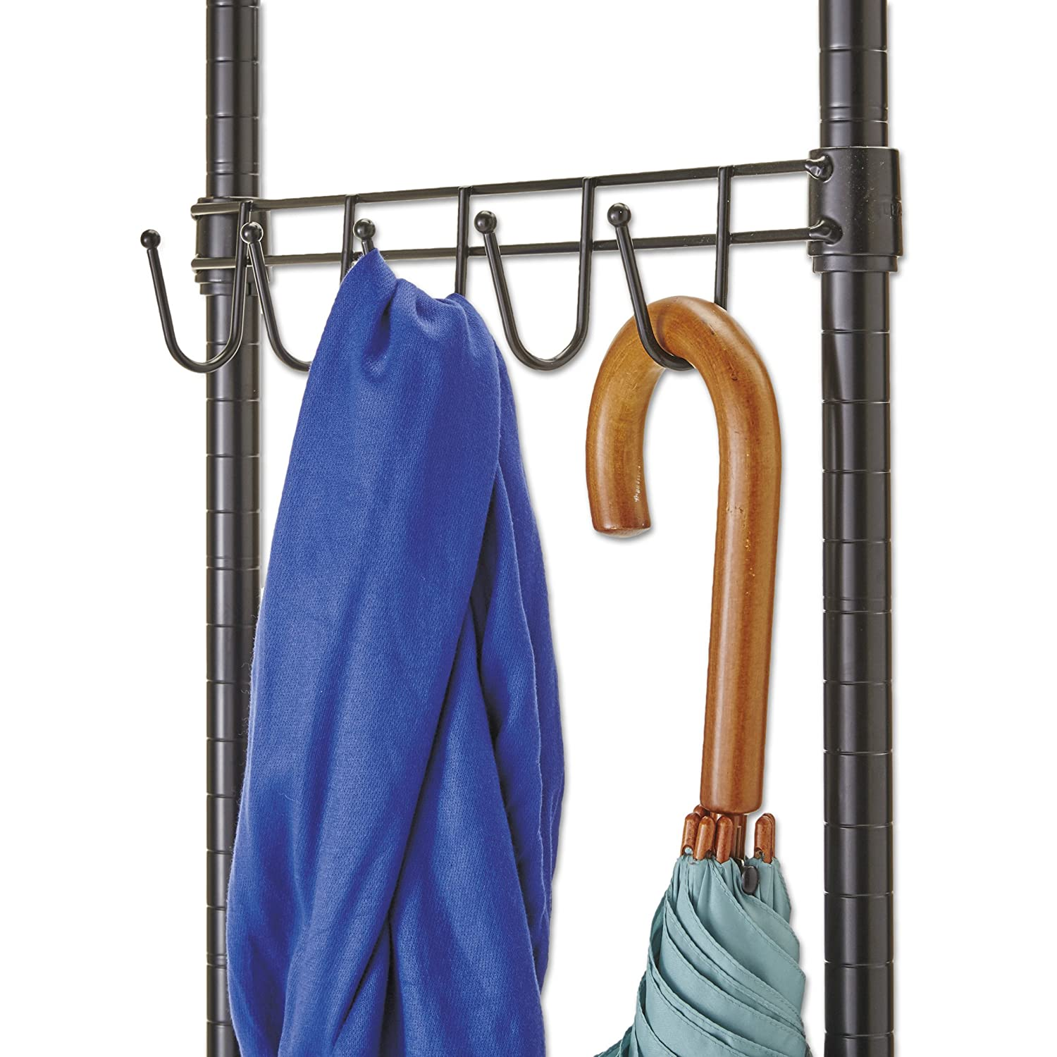 Alera Wire Shelving Garment Rack//Coat Rack//Stand Alone Rack Black Steel with Casters