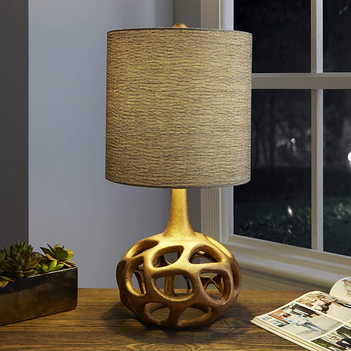 """Silverwood CPLT1379-G-COM The Clove Table Lamp with Shade, Gold, 23"""" H"""