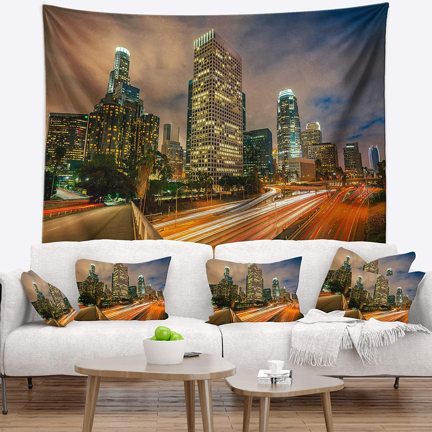 Designart TAP7547-80-68  Los Angeles Yellow Skyline Night Cityscape Blanket D/écor Art for Home and Office Wall Tapestry x Large Created On Lightweight Polyester Fabric 80 in x 68 in
