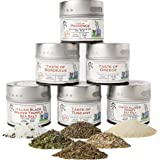 Luxury Gourmet Seasonings, Spices & Italian Black Truffle Sea Salt Collection | Non GMO Project Verified | 6 Magnetic Tins | Gourmet Spice Blends | Crafted in Small Batches by Gustus Vitae | #64