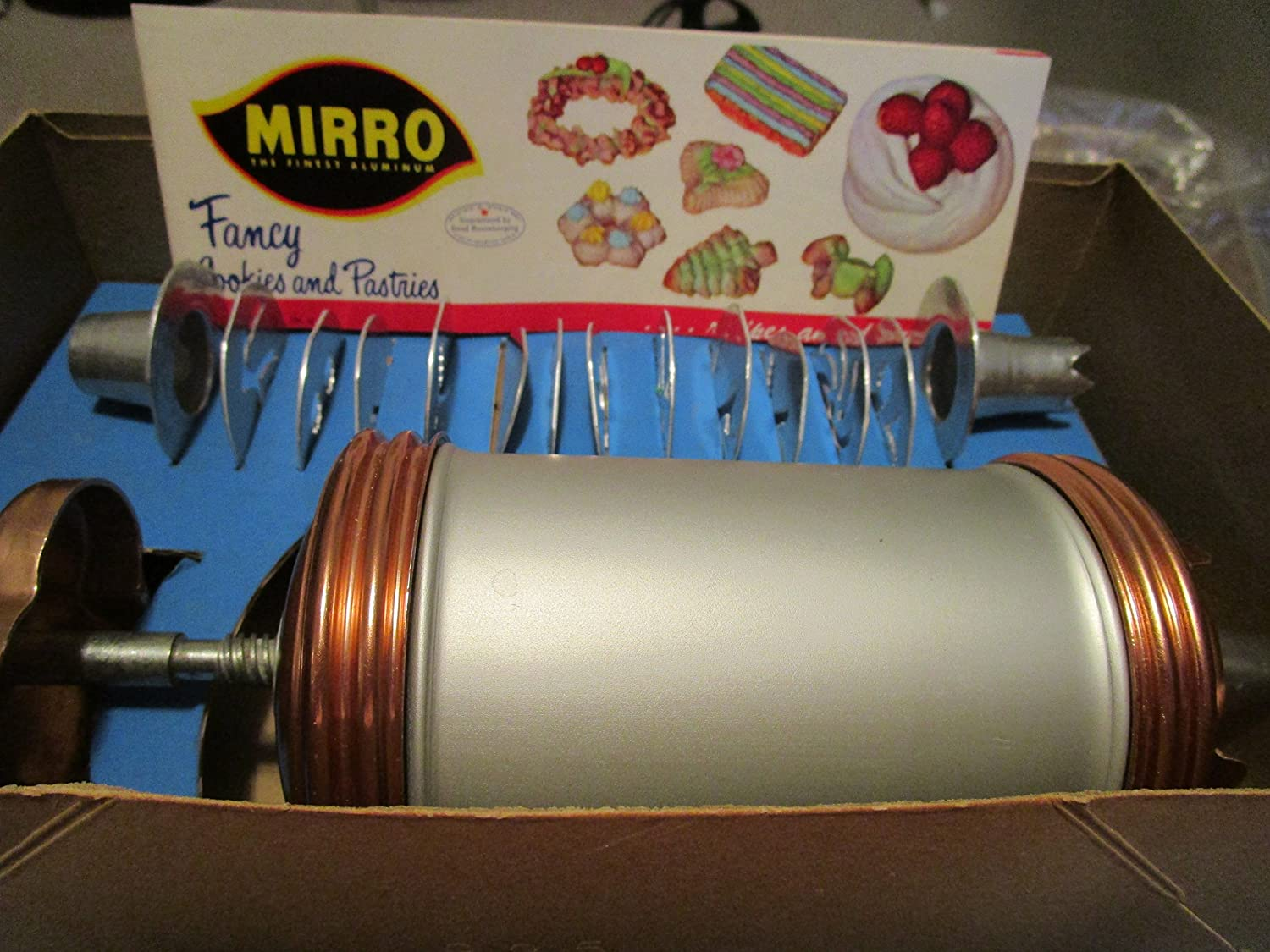 Mirro Aluminum Cooky Pastry Press for making Cookies, Cream Puffs, Meringue Shells, Eclairs, Lady Fingers -- NEW OLD STOCK