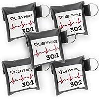 Erste-Hilfe-Schlüsselanhänger für Ersthelfer - Notfall-Set mit Beatmungstuch und Einmalhandschuhen - Hygiene für Laienhelfer - zeitloses Design für Handtasche, Rucksack, Schlüsselbund (5er-Pack)