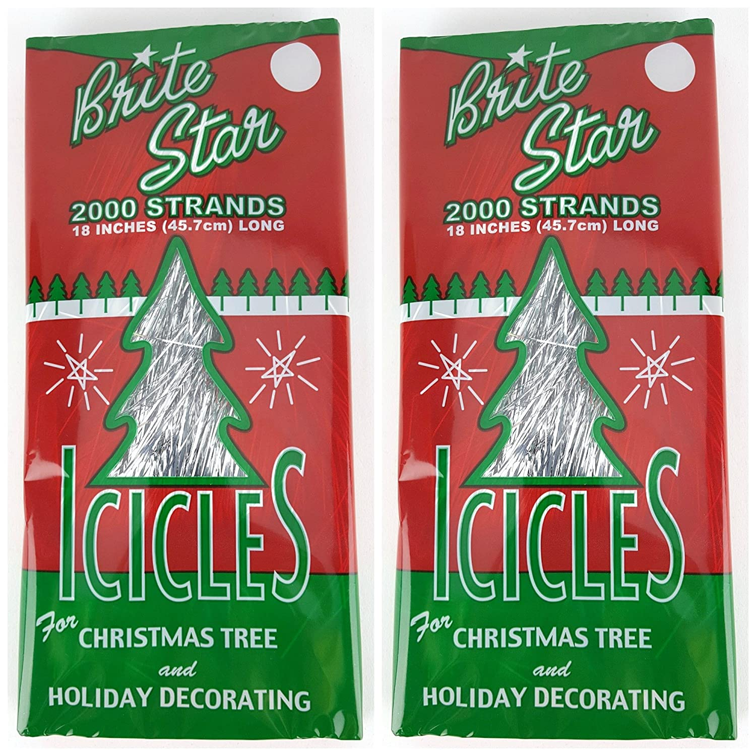 christmas tree tinsel icicles silver 18 inch 1000 strands per box bundle of 3 holiday tinsel