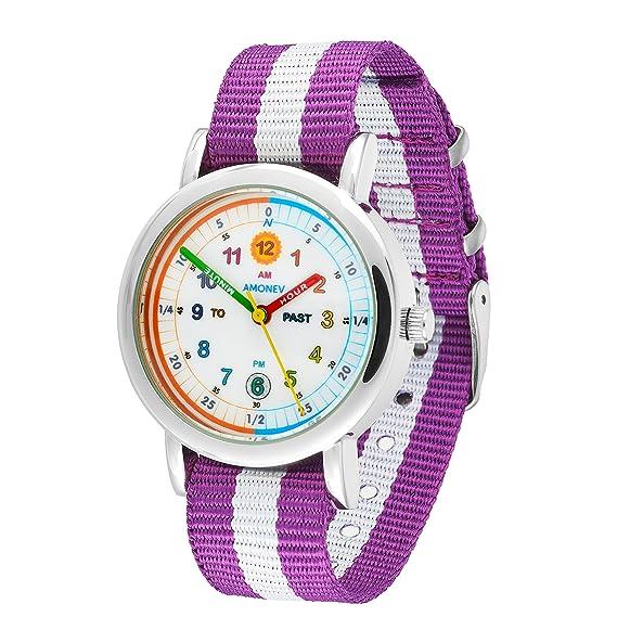 Reloj infantil Amonev con correa violeta y blanca y colorida para aprender a leer la hora, para niños y niñas.: Amazon.es: Relojes