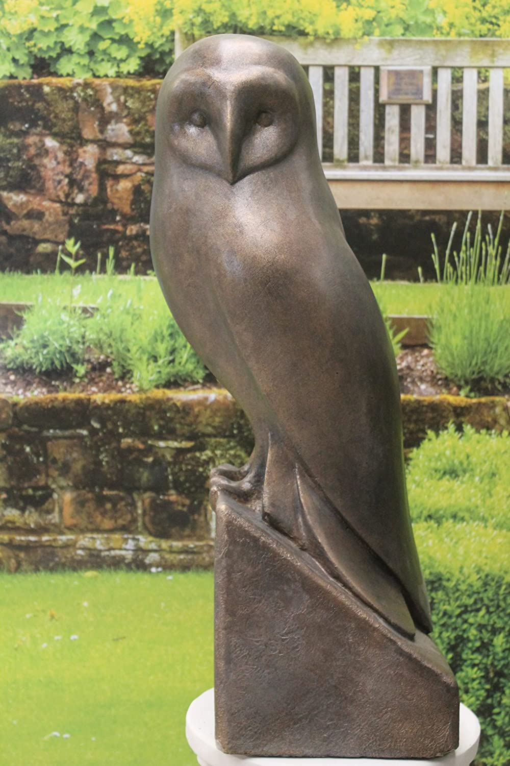 Ornate stone large owl statue and plinth garden ornament Amazon