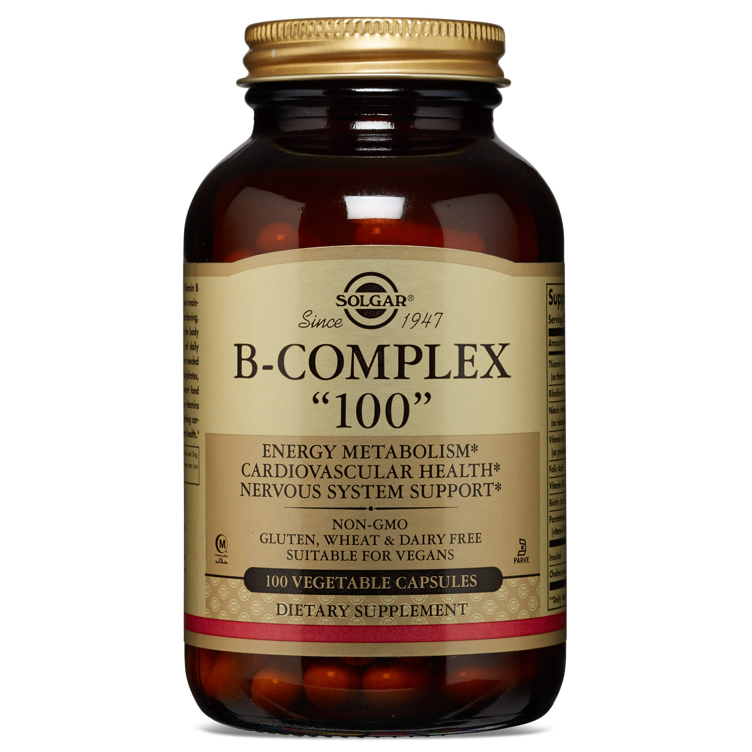 Solgar B-Complex ''100'', Energy Metabolism, Non-GMO, 100 Vegetable Capsules by Solgar