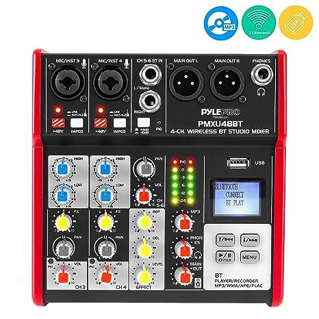 Studio Audio Sound Mixer Board - 4 Channel Bluetooth Compatible  Professional Portable Digital Dj Mixing Console w/ USB Mixer Audio  Interface - Mixing