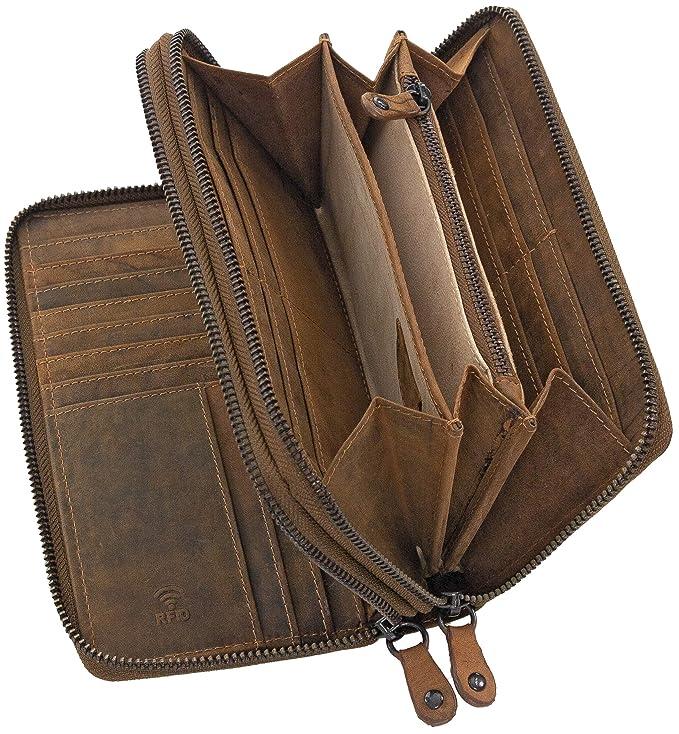 Ven Tomy monedero de la cartera para los hombres y las mujeres de cuero grande bloqueador de RFID de color marrón: Amazon.es: Equipaje