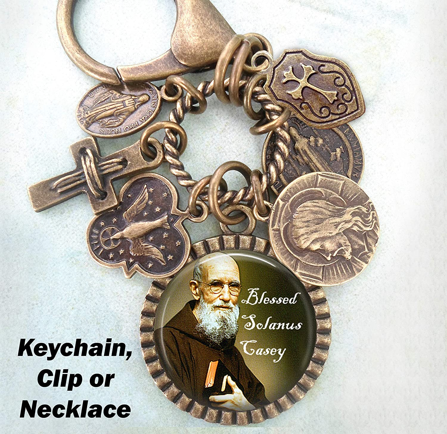 Blessed Father Solanus Casey Keychain Catholic Jewelry Clip or Necklace Patron Saint Confirmation Gift