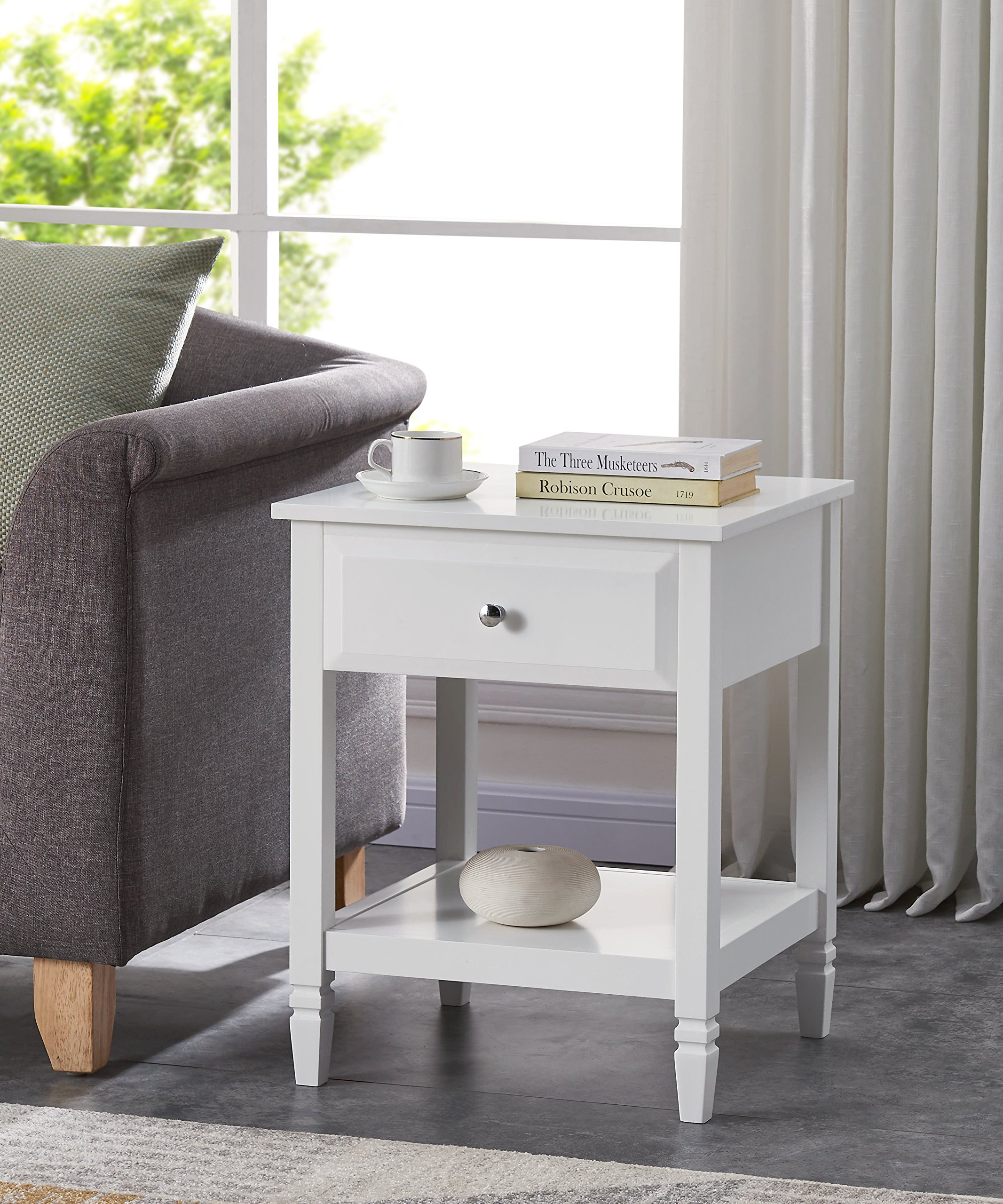 White Finish Contemporary Nightstand Side End Table With