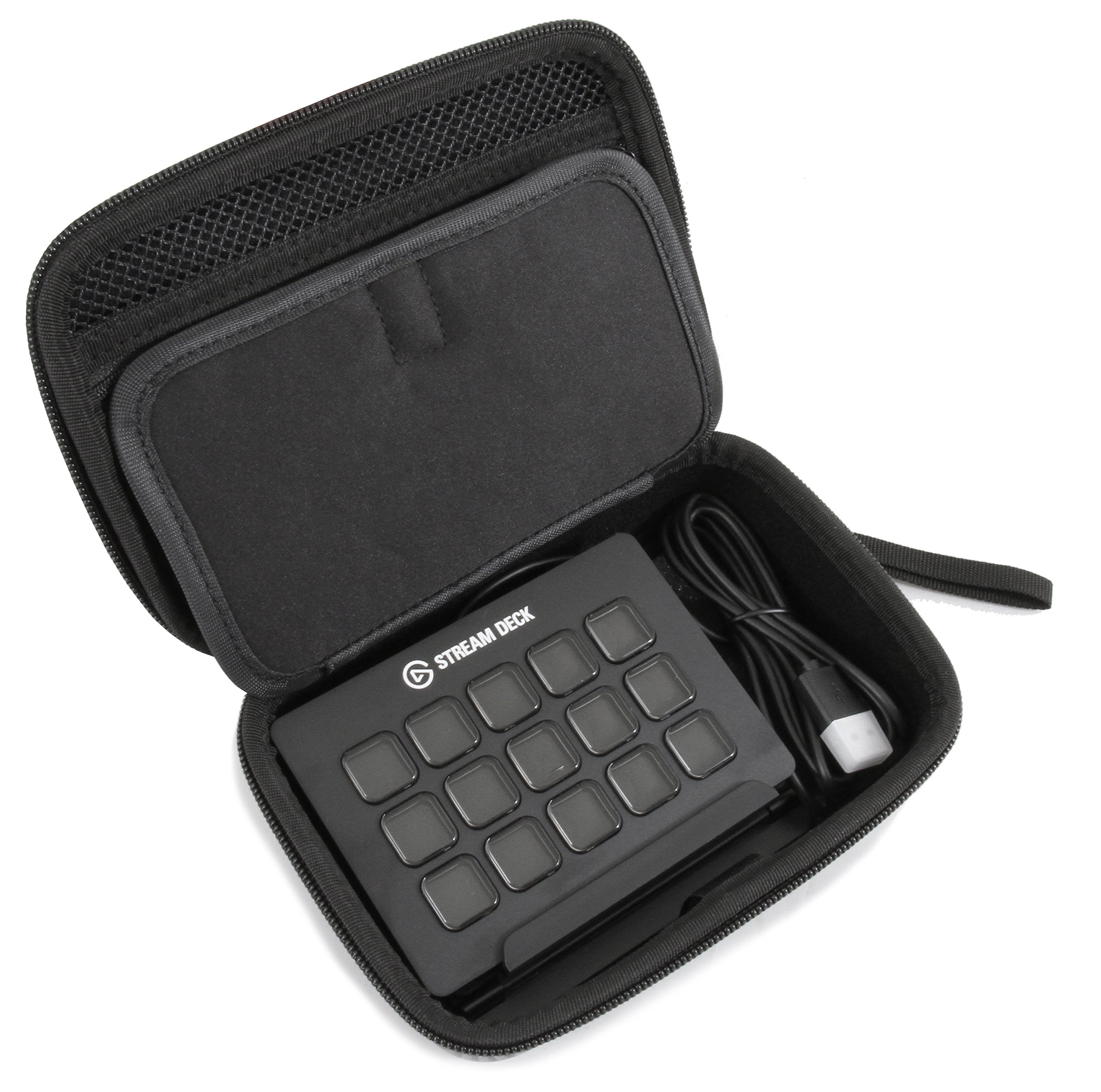 CASEMATIX Rugged EVA Travel Case Fits Elgato Stream Deck and Adjustable Stand, Elgato Game Capture HD60, Elgato Chat Link and Other Select Elgato Accessories – Wrist Strap Included