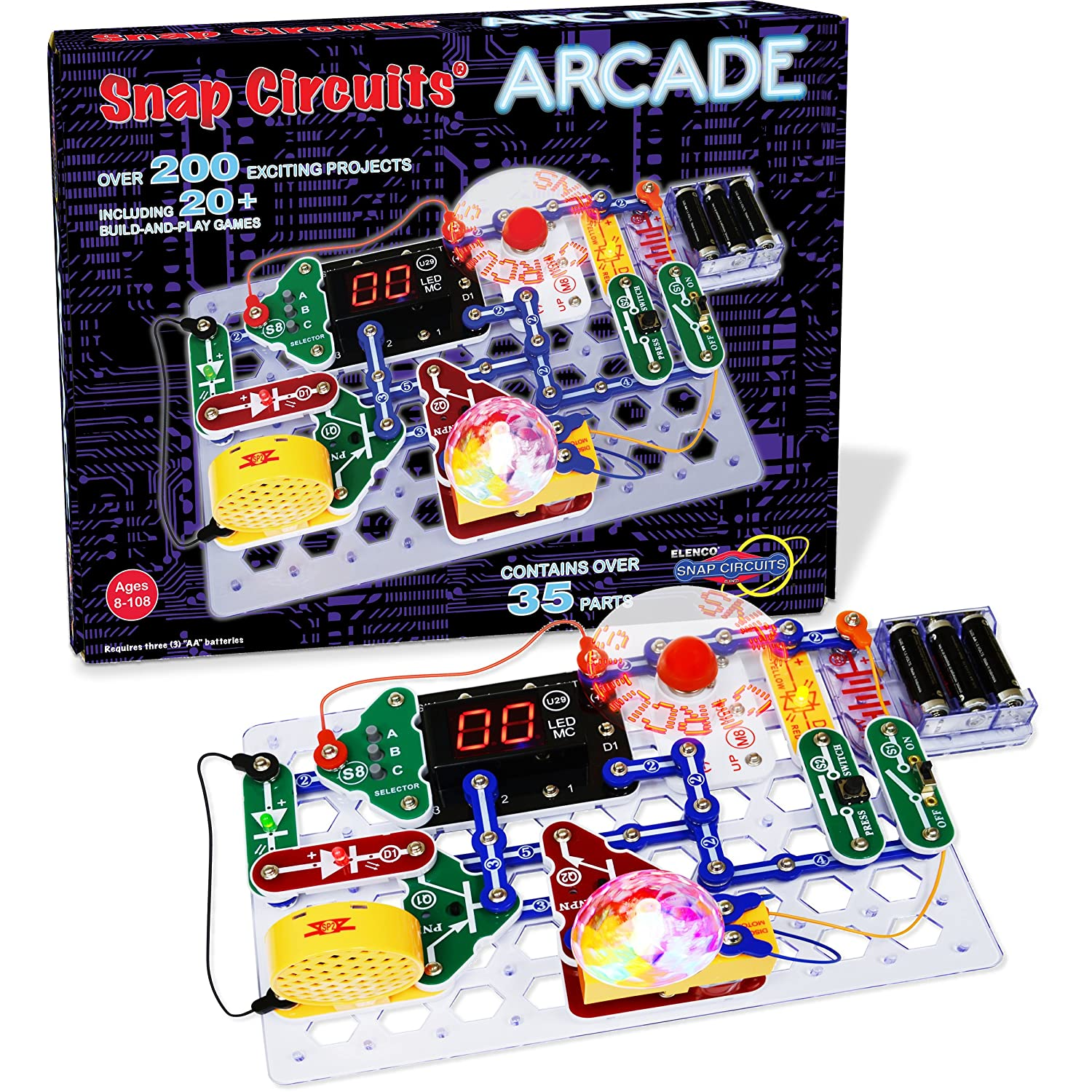 Snap Circuits Arcade Electronics Exploration Kit Over Green Energy Pro 200 Stem Projects 4 Color Project Manual 20 Build And Play Games 35 Modules