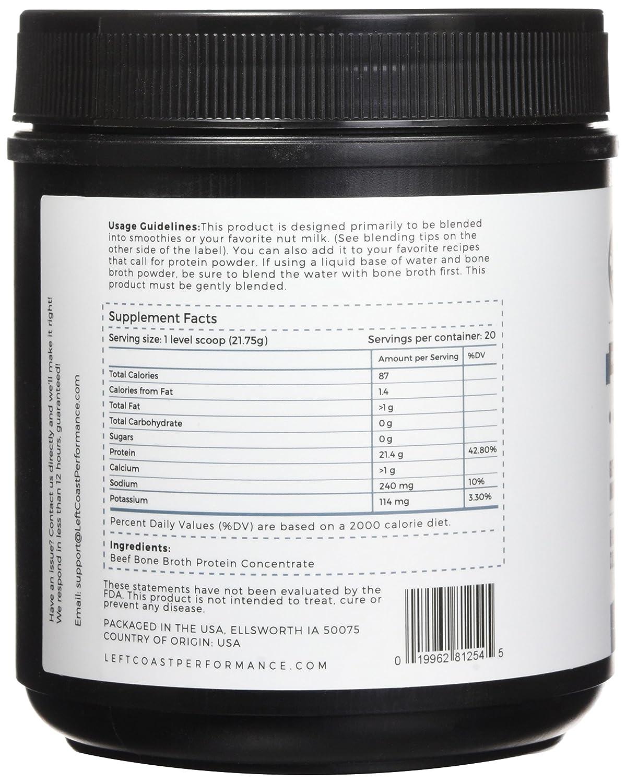 Bone Broth Protein Powder Pure 16oz, Grass Fed Beef – Unflavored, Paleo Friendly, Gut-Friendly, Non-GMO, Dairy-Free Protein Powder. Rich in Collagen, Glucosamine Gelatin, Left Coast Performance