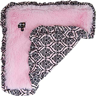 "product image for BESSIE AND BARNIE Versailles Pink Ruffle/ Bubble Gum Luxury Shag Ultra Plush Faux Fur Pet, Dog, Cat, Puppy Super Soft Reversible Blanket (Multiple Sizes), XS - 20"" x 20"""