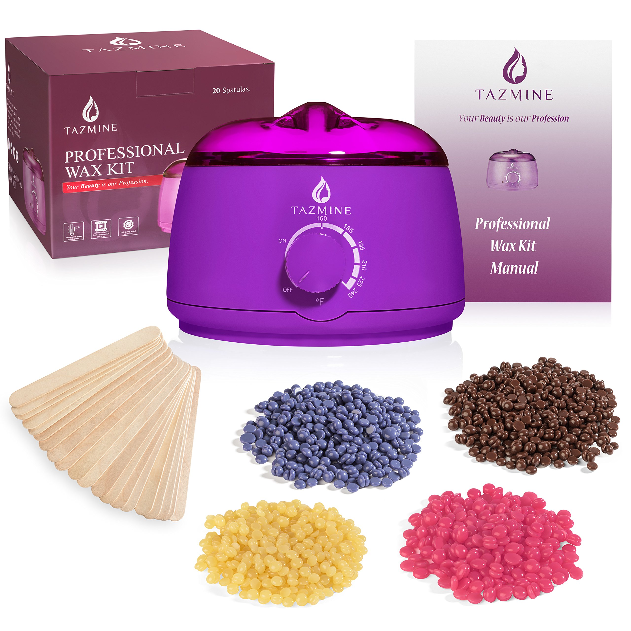 Hard Wax Warmer Kit For Women By Tazmine Beauty - Electric Waxing Pot With 20 Spatulas + 4 Bags Of Hard Wax Beans For Painless Hair Removal - Wax Melt Warmer Suitable For All Types Of Waxing
