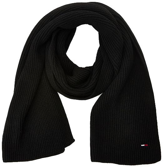 834330a14c3e Tommy Hilfiger Women s Basic Knit Denim Scarf, Black, One Size(Size OS)   Amazon.co.uk  Clothing