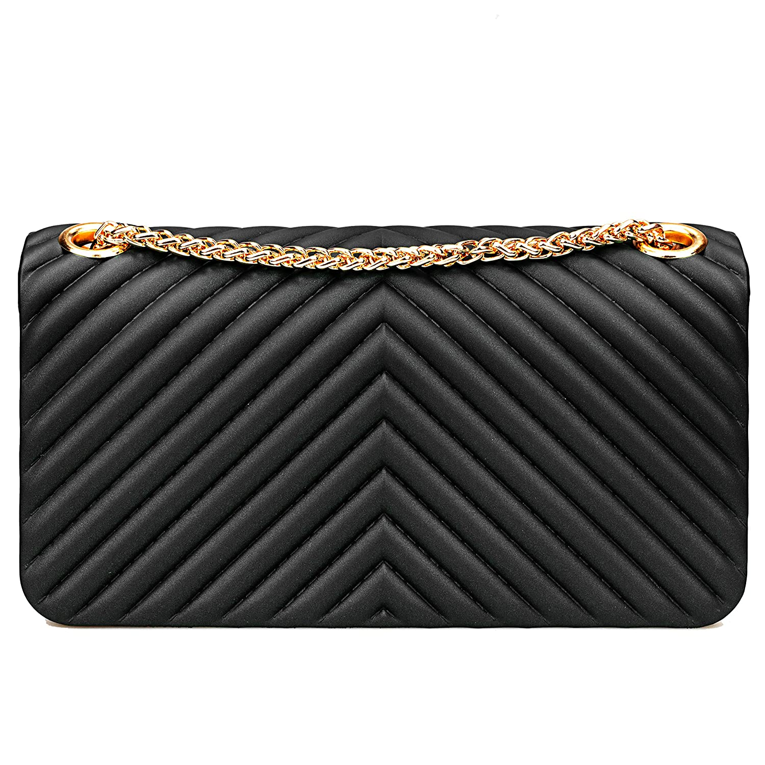 21486c9a18ed Women Fashion Shoulder Bag Jelly Clutch Handbag Quilted Crossbody Bag with  Chain - Black  Handbags  Amazon.com