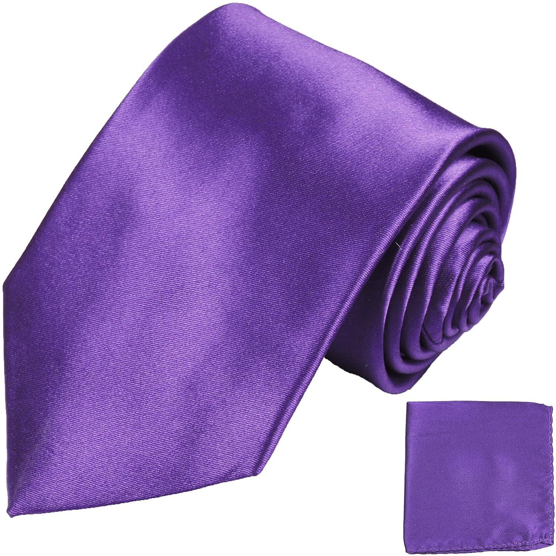P.M. Krawatten Paul Malone Corbata de seda violeta + pañuelo ...