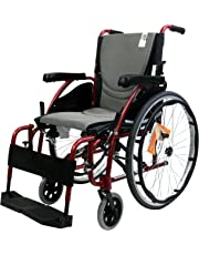 Karman Healthcare Ergonomic Wheelchair with Quick Release Axles in 18-Inch Seat, Red Frame