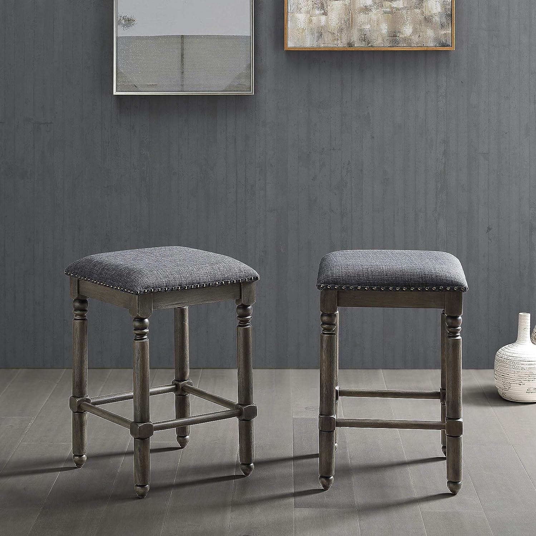 Roundhill Furniture Arnhem Wood Upholstered Swivel Counter Height Stools, Set of 2, Gray