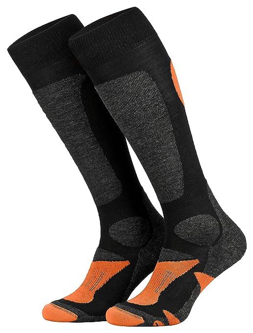 Piarini 2 Paar Unisex Skisocken Skistrumpf Herren, Damen und Kinder für Wintersport, Snowboard atmungsaktive Socken Knie-Strü