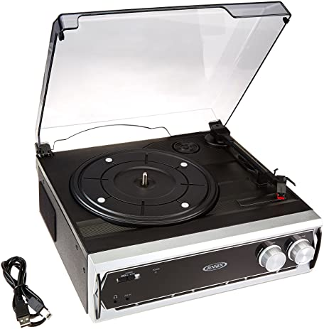 Jensen JTA 232 3 Speed Stereo Turntable With Built In Speakers (Newest  Model)