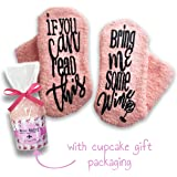 Passionette Fuzzy Wine Socks: If You Can Read This Bring Me Some Wine Novelty Socks - Funny Gift Idea for Her - Anniversary, 21st Birthday, Valentine's Day with Cupcake Gift Packaging (Coral Candy)