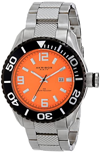 Akribos XXIV Men s AK511OR Quartz Movement Watch with Orange Etched Dial and Stainless Steel Bracelet