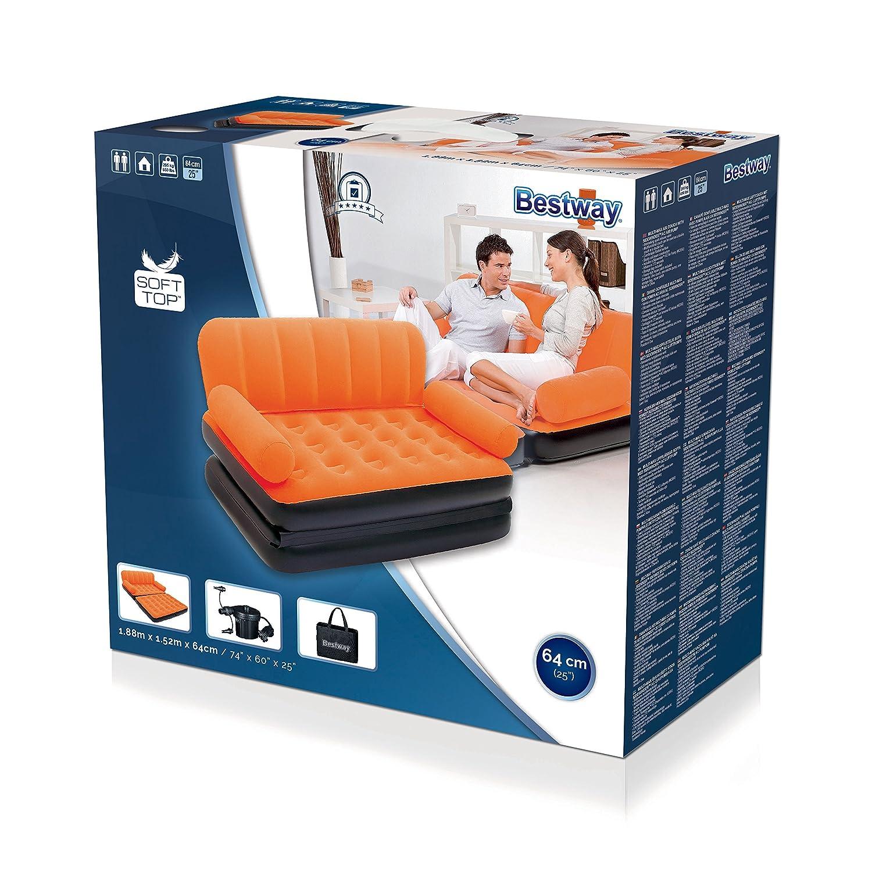 188x152x64 cm Bestway Multi-Max zum Bett wandelbares Luftsofa aufblasbar mit externer Pumpe