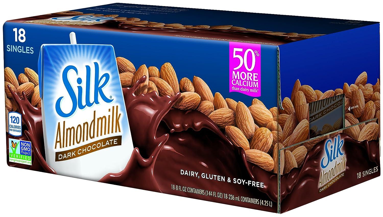 Silk Pure Almondmilk Dark Chocolate, 8 Ounce, 18 Count: Amazon.com ...