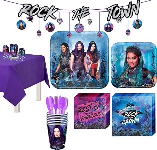 Amazon Com Party City Super Descendants 3 Tableware Supplies For 8 Guests With Table Cover Banners And More Kitchen Dining