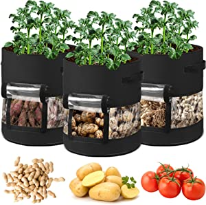 Potato Grow Bags, 3 Pack 7 Gallon Plant Growing Bags Heavy Duty Non-Woven Fabric Pots for Garden Vegetable Mashroom Growing Bags Container for Indoor Outdoor Flower Tomato Herb Planting (Black)