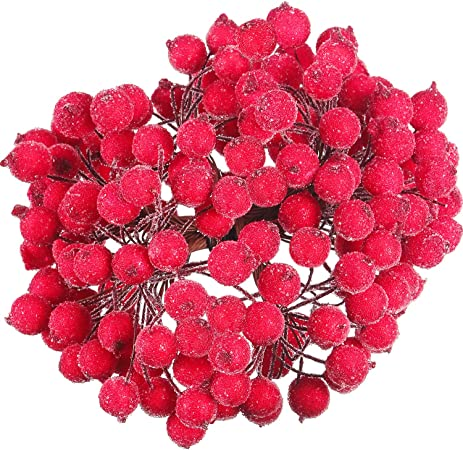 100 C/âbl/é Tiges de Baies Artificielles D/écoration de Fleurs Artificielles 200 Pi/èces 12 mm Mini Baie Aux Fruits Givr/és de No/ël Rouge