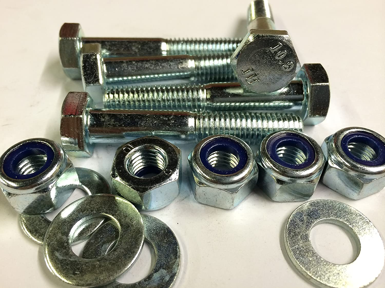 Pack of 5, Grass Topper, Diet Feeder PTO Shaft Shear Bolts with Nyloc Nuts and Washers, M10 x 50mm 10.9 Grade